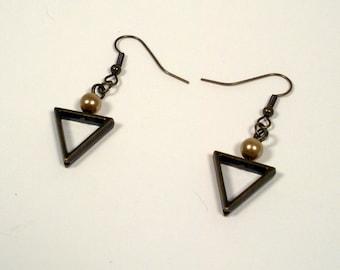 Bronze Triangular Beaded Dangling Earrings, Gold Glass Bead and Metal Bead Earrings, Dangling Beaded Earrings, Bronze