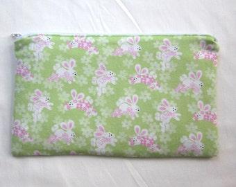 Cute Bunnies Fabric  Zipper Pouch / Pencil Case / Make Up Bag / Gadget Pouch