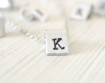 Initial Necklace, Silver Rectangle Banner Pendant, Personalized Jewelry, Aluminum Pendants, Handcrafted Stamped Charms