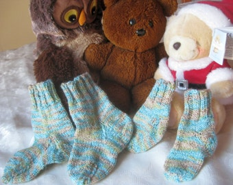 Hand Knitted Big and little Sibling or Baby Socks and Matching Dolly Socks or Premi and Toddler Socks Cotton, Wool, Nylon