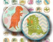WINTER SALE 50% OFF Cute Dinosaurs 1 inch bottle caps  images. 1 inch circles for magnets, decorations, party tags. Happy dinos digital down