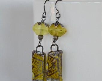 Yellow Earrings, Rustic Bead Earrings, Lemon Yellow Earrings, Grungy Earrings, Primitive Art Bead Earrings, Handmade Artisan Earrings