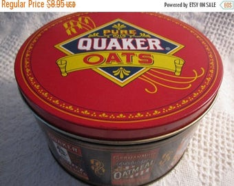 MOTHERS DAY SALE Vintage Quaker Oats Tin Container Limited Edition 1983 Red White Blue Gold Americana Advertising