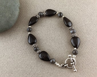 SALE! Strength, Youth & Vitality Bracelet with Larvikite and Black Onyx (439)