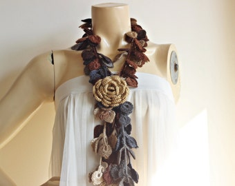 Leaf Crochet Scarf-Leaves  Necklace Scarf-Multicolor Lariat Scarf-Necklace Lariat Scarf-Shades of Brown and Grey Scarf-Vegan Scarf-2 pieces