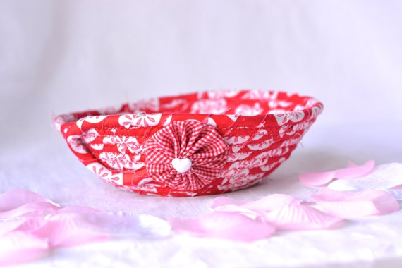 Decorative Fabric Basket, Handmade Red Valentine Decoration, Cute Red Desk Accessory Basket, Ring Holder Bowl, Candy Dish