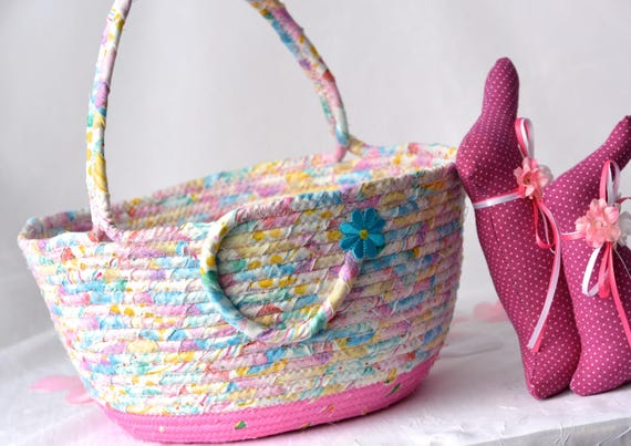 Handmade Easter Basket and 1 Cute Pink Bunny, Flower Girl Basket, Pink Wedding Card Basket, Easter Bucket,  Baby Girl First Easter Basket