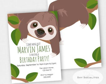 Sloth Invitation | Sloth Party | Zoo, Jungle, Animals | Instant Download TEMPLATE | Editable Text PDF