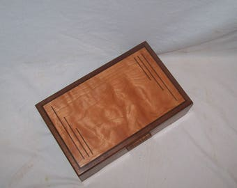 "Small wooden Box Wanut box with Fancy Cherry inlayed top Awesome Handcrafted Box 11x"" 7 1/4x""3 1/2"""