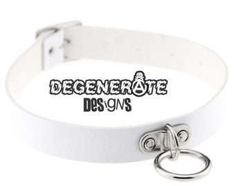 Punk White Leather O Ring Bondage Collar Choker Vegan