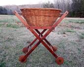 Vintage Laundry Basket Wood Cart Stand Merchandise Mart Laundry Kar Farmhouse Decor Laundry Room