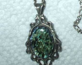 Sterling Silver Paua Shell Antique Victorian Style Filigree Pendant Necklace Figaro Chain Vintage
