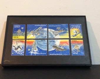 "Outer space - Recycled Postage Stamp Framed Art 4""x6"", 4x6, shuttle, astronaut, moon, planets, space stamp, probe, explore, solar system sun"