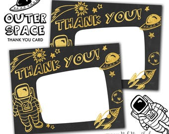 Outer Space Party Thank You Card, Astronaut Alien Space Ship Party Printable Thank You Card, Instant Download