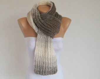 Taupe ombre ribbed long scarf, thick knitted men women scarf, wool white brown shawl, unisex winter accessories, Christmas gift for him