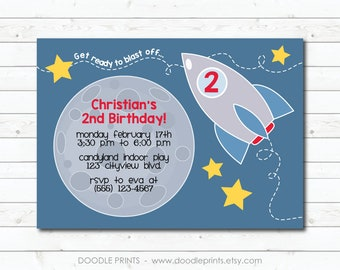 Rocket Ship Invitation, Printable SPACE Birthday Party Invitation, Spaceship Rocketship, Moon Stars, Get ready to blast off 5x7 or 4x6