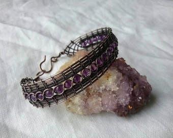 Amethyst in copper wire lace bracelet