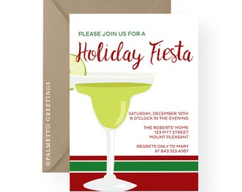 PRINTABLE - Christmas Holiday Party Invitation Margarita Glass, Holiday Fiesta, Christmas Eve Tamales, Feliz Navidad, Mexican Happy Hour