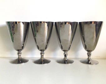 Fostoria Platinum Covered Vintage Crystal Cocktail Cordials Engagement Pattern