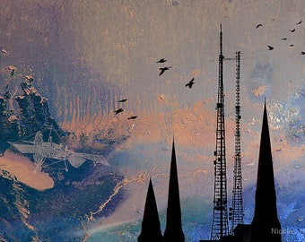 Theories of Flight  - Swifts  -  8 x 10 Encaustic and Photographic Etching - Towers and Steeples - Limited Edition Print