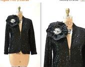 SALE 15% OFF Vintage Black Sequin Jacket size Small Medium With Giant flower 70s 80s Vintage