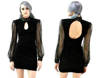 Sale 15% off Vintage 90s Black Velvet Body Con Illusion Sequin Dress Size Small by Zum Zum