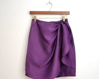 ON SALE Vintage Purple Silk Wrap Skirt, Size Small// Silk Sarong Skirt