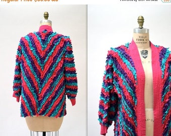 SALE 50% OFF Vintage Fringe Jacket in Blue Pink and Purple// Vintage Art to Wear Cotton Quilted Chevron Fringe Jacket