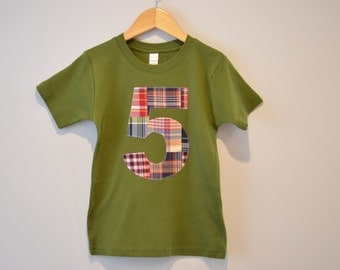 Ready to Ship, Boys 5th Birthday Shirt, Applique Number 5 Tshirt, Madras Patchwork Plaid, Red Olive Green, Short Sleeve, Number Five Size 6