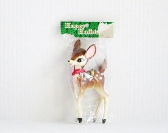 Vintage Deer Figurine, Vintage Reindeer, Christmas Decor, Hard Plastic Reindeer Deer, Vintage Deer, Kitsch Fawn Deer, Plastic Deer