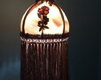 Small Victorian Lampshade Long Fringe Gold Satin Hand-Dyed Appliques Imported Metallic Trim