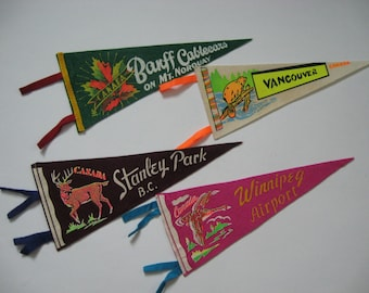 Authentic vintage souvenir felt pennants mini Banff Winnipeg Vancouver Stanley Park Canada