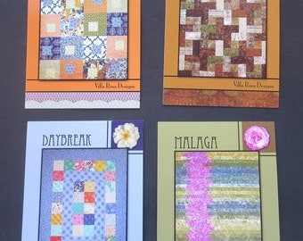 Four Villa Rosa Designs Quilt Patterns - Malaga, Iced Tea, Daybreak And Summer Song