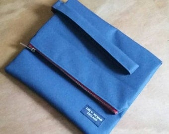 Clutch Bag Tablet Cover Pouch Purse in Navy Blue Canvas with Red Zip Unisex Mens One of a Kind Ready to Ship