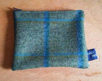 Green and Blue Wool Tartan Upcycled Zip Coin Purse One of a Kind Ready to Ship