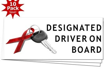 DESIGNATED DRIVER On Board December Drunk Driving Prevention Window or Bumper Sticker 10-Pack