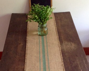 Sage Striped Burlap Table Runner 10,12 or 14 x 48 or 60 Hand-Painted Premium Burlap Table Runner Choice of Colors