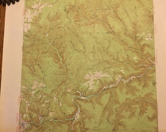 Vintage Topographic/Geologic Survey Map of Benezette area in Elk County, Pennsylvania, from 1941 survey