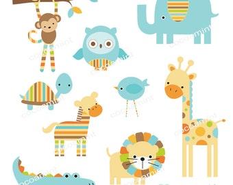 Mod Blue Zoo Clip Art