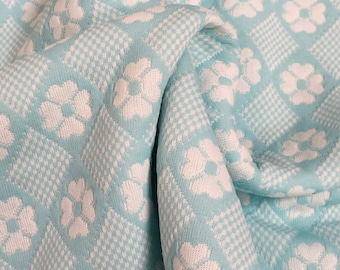 """1960/70's Powder Blue Daisy Print Polyester Double Knit Fabric 64"""" x 1 Yard + 25""""- 1970's double knit,blue  polyester double knit fabric"""