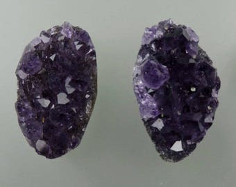 Amethyst Crystal Button Cabochon Pair, Amethyst Crystal Buttons, Amethyst Crystal Pair, Pendant Buttons, Gift Buttons, C1738, 49erMinerals