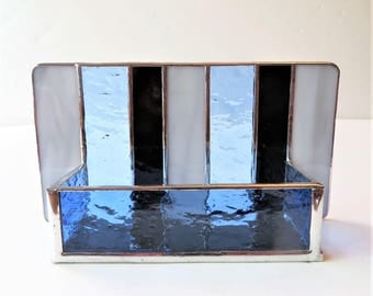 Contemporary Stained Glass Business Card Holder Modern Office Decor Gray Marble Black Blue Desk Accessory Handmade Unisex