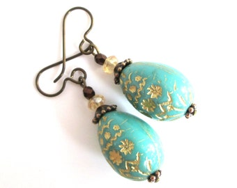 Turquoise and Copper Easter Egg Earrings, Blue Czech Glass Rustic Boho Style Hypoallergenic Earrings