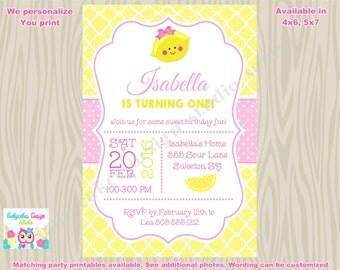 Lemonade Birthday Invitation invite pink lemonade party invitation inve 1st birthday lemonade birthday invite printable DIY