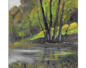 Original impressionistic landscape oil painting 8x10 Reflections of Trees