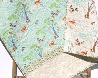 Woodland Baby Quilt, Boy or Gender Neutral Baby Bedding Nursery Blanket Toddler Bedding Forest Nursery Owl Deer Pastel Blue Green Woodland