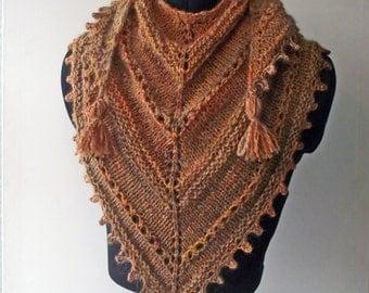 Brown Apricot Handspun Knit Shawl, Handspun Autumnal Artisan Shawlette, Knit Scarf,  Merino & Alpaca Wrap, Hand Spun Art Yarn Knit Wrap