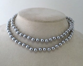 Monet Beaded Necklace, Gray Pearl Beads, Silver Faux Pearls, Vintage Monet Jewelry