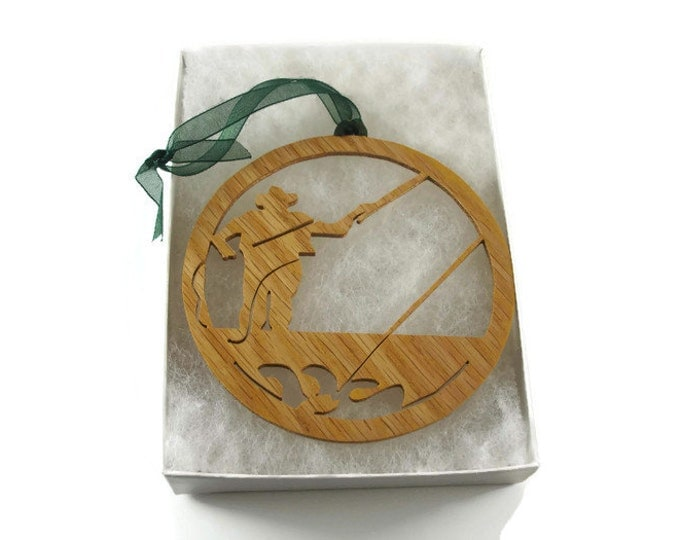 Fly Fisherman Fishing Christmas Ornament Handcrafted from Oak Wood By KevsKrafts