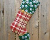 Golf Christmas Stocking ... Golfer Christmas Stocking ...  Golfer Gift .... Plaid Stocking ... Stocking for Golfer